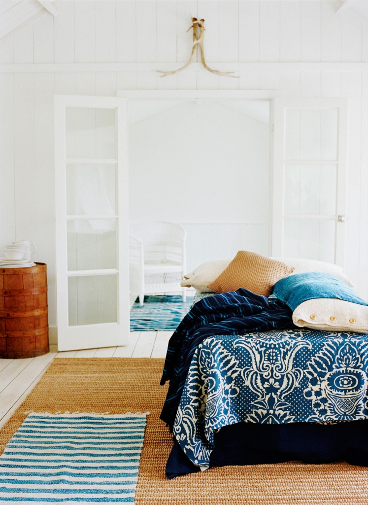 Indigo bue and white bedroom styled by interior stylist Mary Norden