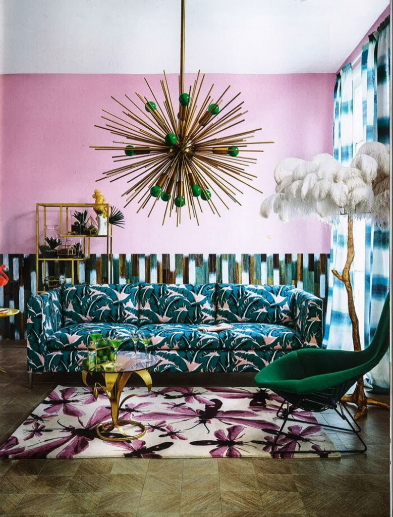 Living Etc green and pink living room front cover with brass sputnik light and jungle palm print sofa