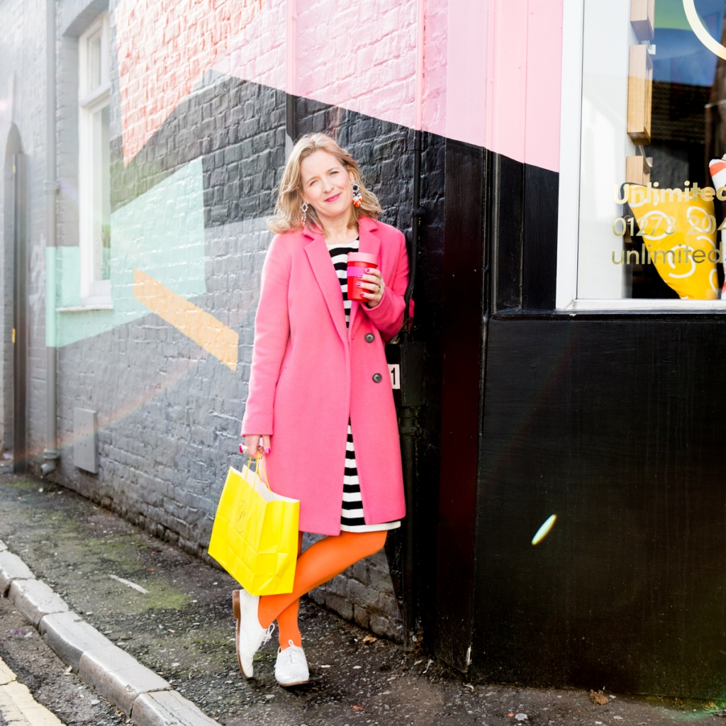 Interior Stylist Sophie robinsons signature lok is bright colours and bold tights