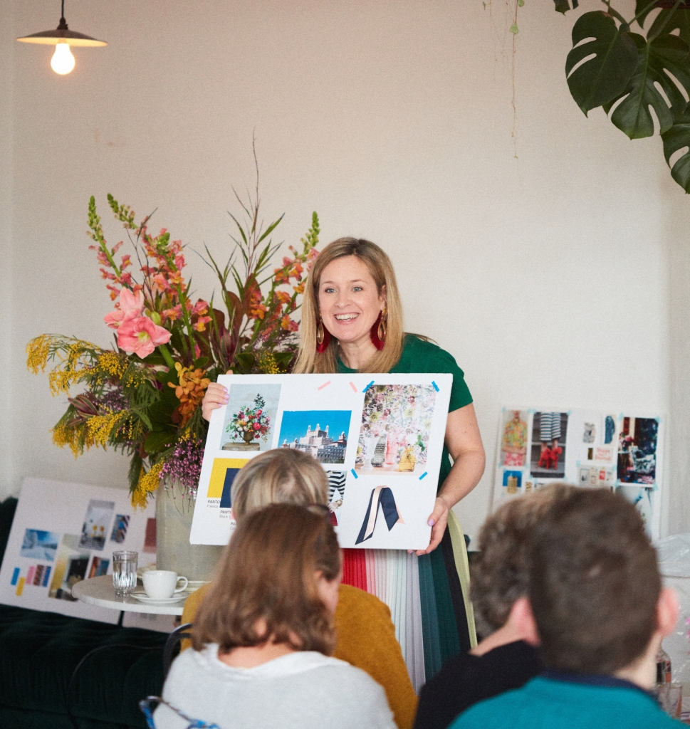 interior designer Sophie Robinson presenting at her colour workshop