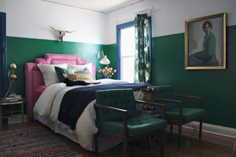 emerald green and pink bedroom designed by emly henderson