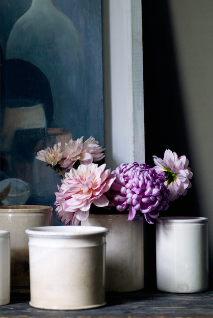 Pink dahlias in earthenware jars. Styled by Mary Norden, photographed by Polly Wreford