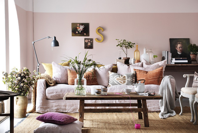 Living room with pastel pink walls