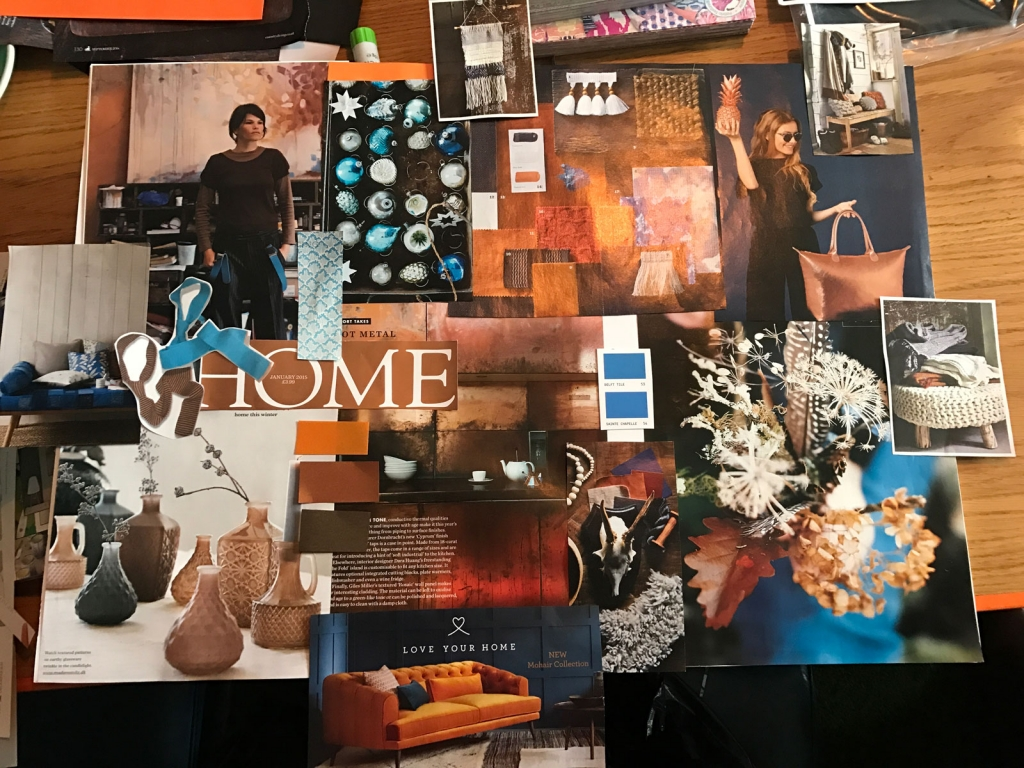 Beckys copper and indigo blue mood board priduced on Sophie Robinsons Colour workshop