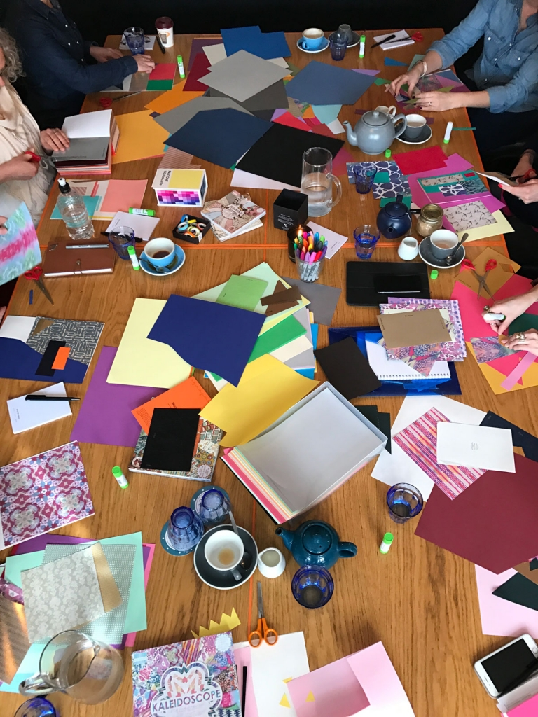 Colour workshop with interior designer Sophie Robinson. Collage work with coloured paper crafts