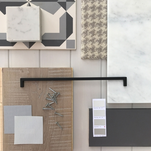 A selection of grey materials for an all grey interior design scheme