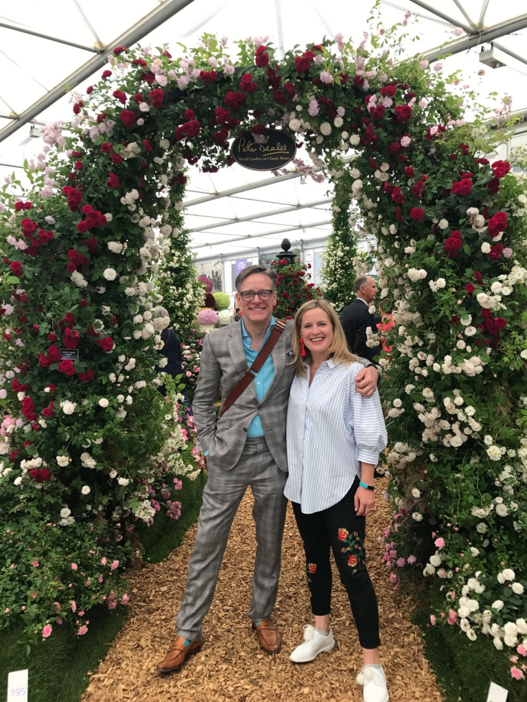 Interior designers Sophie Robinson and Daniel Hopwwood, at RHS Chelsea Flower show 2017