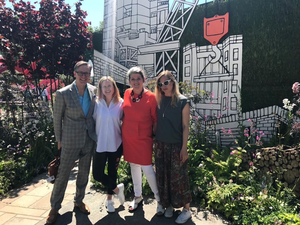 Interior designers Daniel Hopwwod, Sophie Robinson with Dulux Creative director Marianne Shillingford and artist Jo Peel.