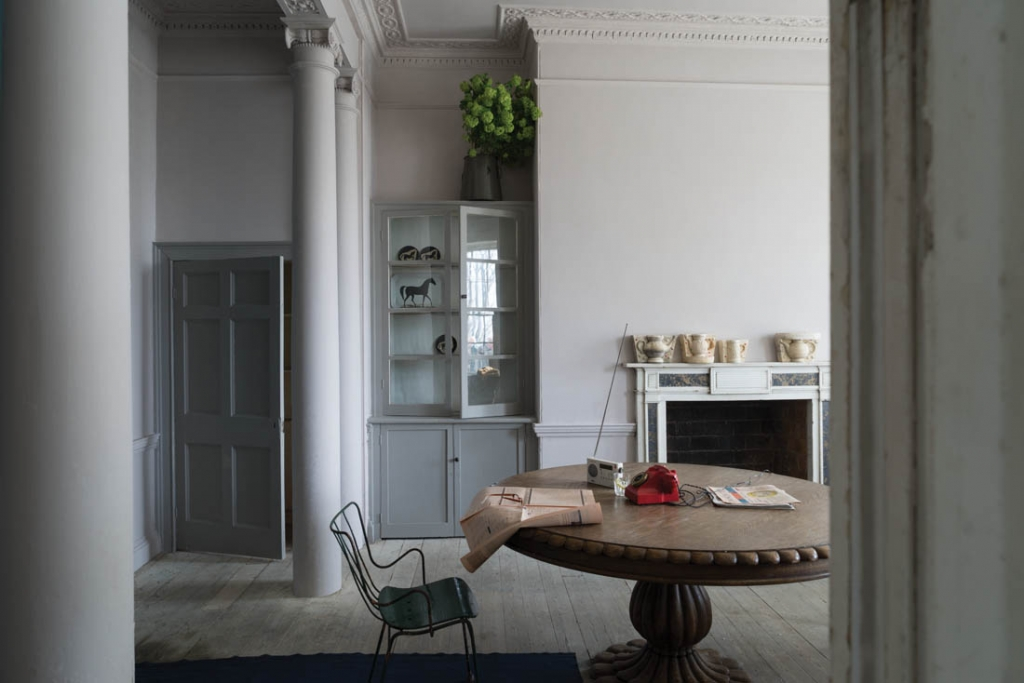 A soft grey paint by Farrow and Ball, makes the period architecture more modern