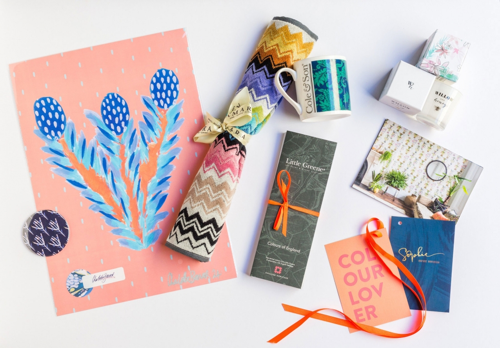 VIP goodie bag contains gifts from Amara, Cole and Son, Willow and Honey and Charlotte Beevor