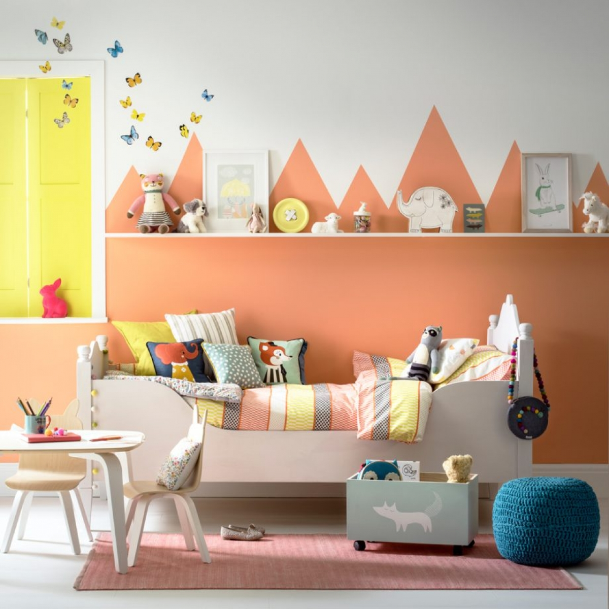 The spring personality os oerfect for a childs interior design scheme. Here warm orange and vibrant yellow work to make a soft yet uplifting colour scheme
