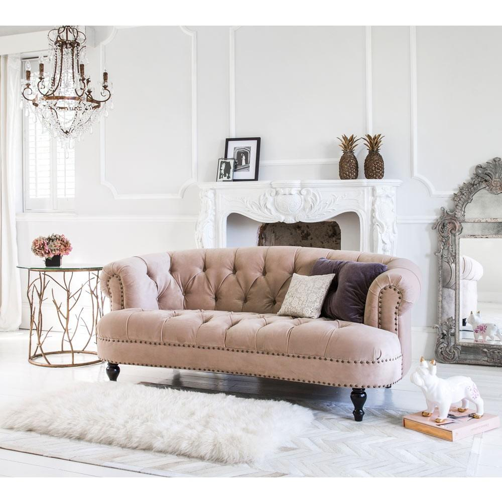 pink button back sofa in blush pink from the French bedroom company