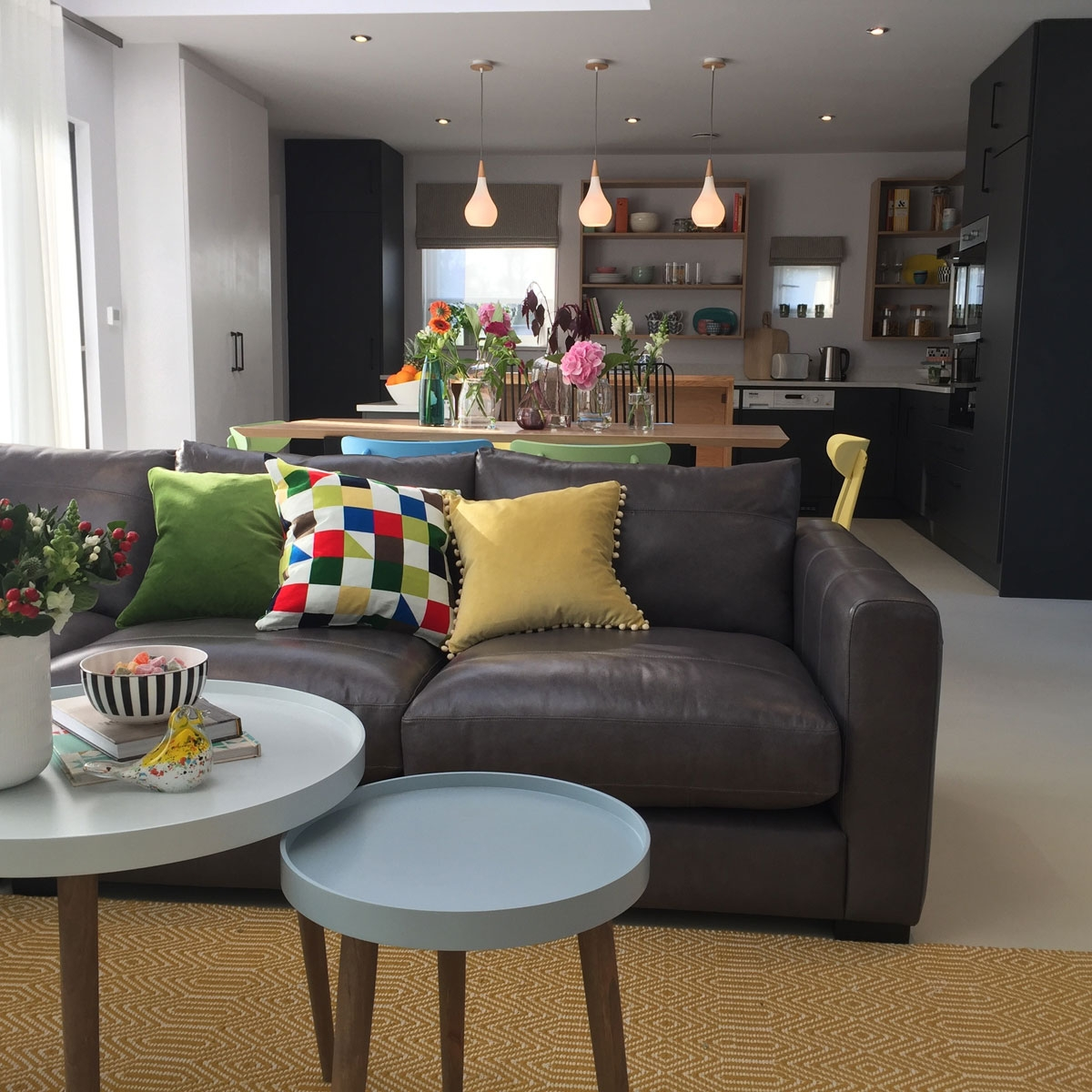 Living room open plan onto the kitchen and dining room. Space designed by Sophie Robinson for BBc1's DIY SOS, Isle of Sheppey episode.