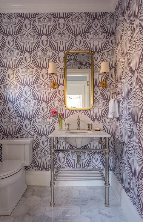 purple-farrow-and-ball-lotus-wallpaper-marble-washstand