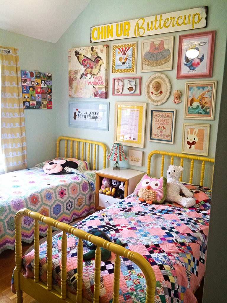 Vinatge inspired childrens room. The vibrant pastel shades and ditsy prints are typical of the spring personality