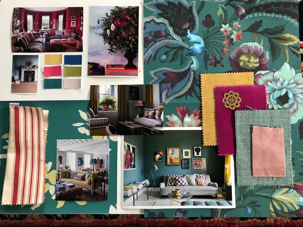 create a mood board to help visualise your scheme. This one here is fror my living room which is Autumn according to colour psychology