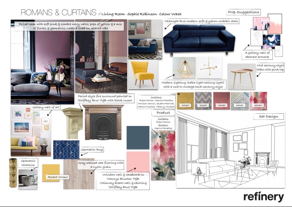 An interior design board can bring togther sketches of the set, furniture options as well as paint colours and furnishing fabrics. This design by interior designer Sophie Robinson for Hillarys