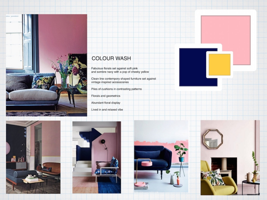 Interior designer Sophie Robinson puts togther a mood board for an interior design scheme for a pink and blue living room