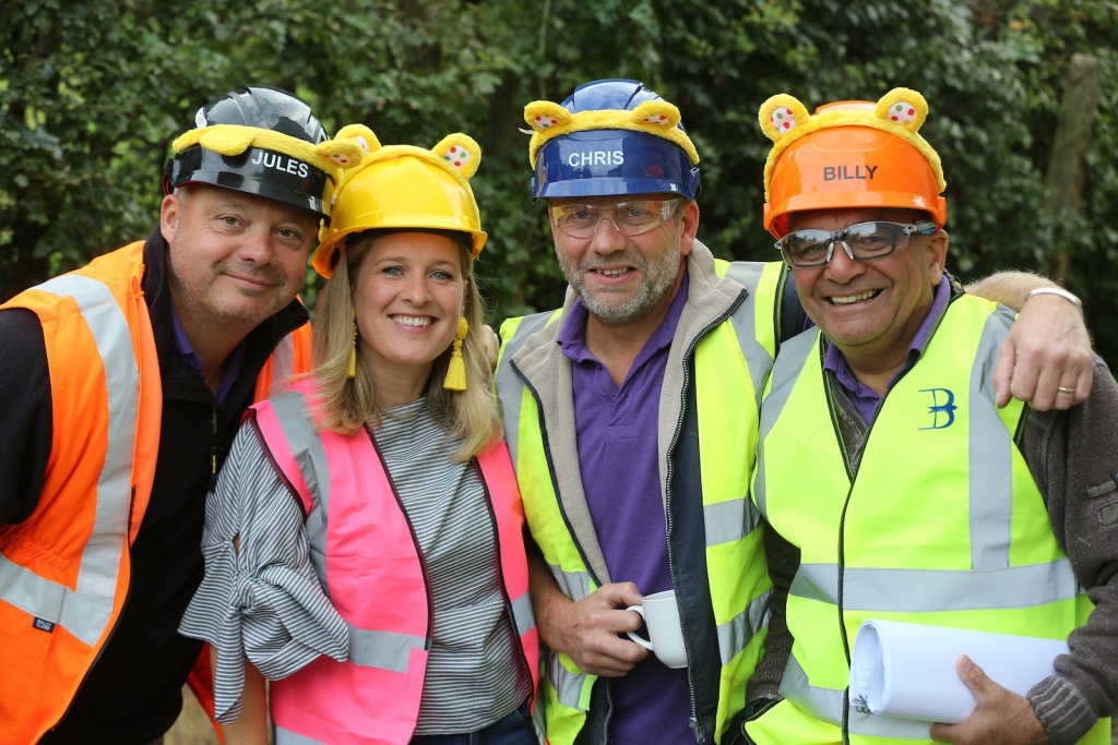 The purple shirts from BBc ones DIYSOS Jules, CHris and Billy with interior designer Sophie Robinson