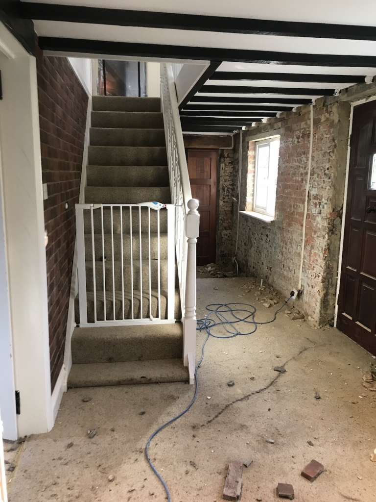hallway renovation to remove artex and fake brick slips