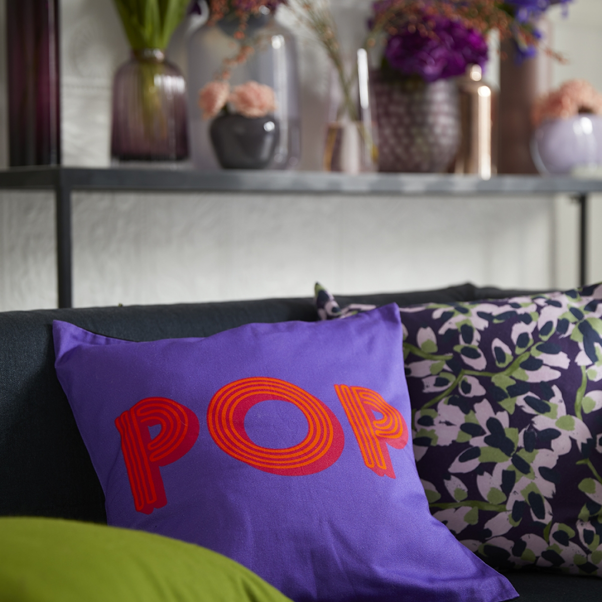 pantone colour of the year for 2018 is utra violet. this pop cushion in bright purple by quirk and rescue is perection