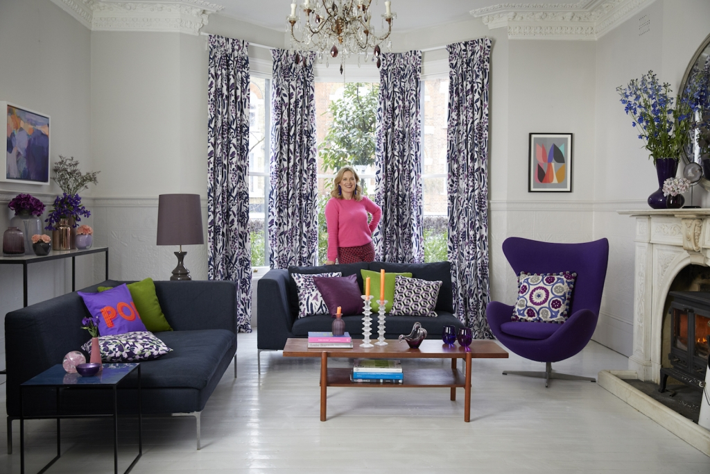 interior design using Pantone Colour of the year Ultra Violet, designed by interior designer sophie robinson