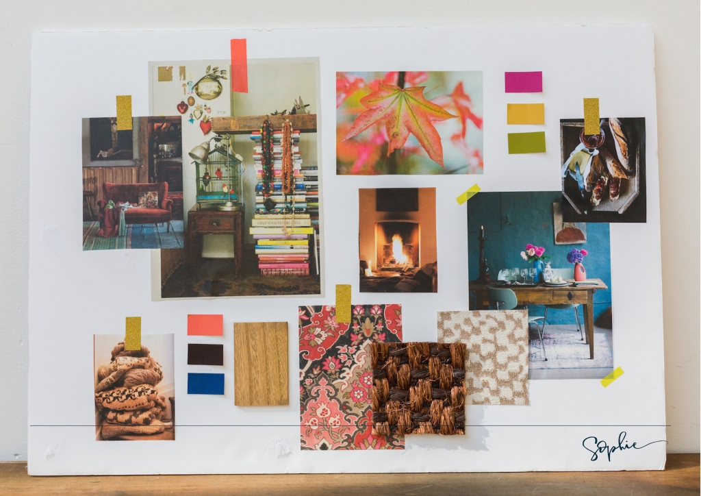 An Auymn personality mood board using colour psychology by interior designer Sophie Robinson