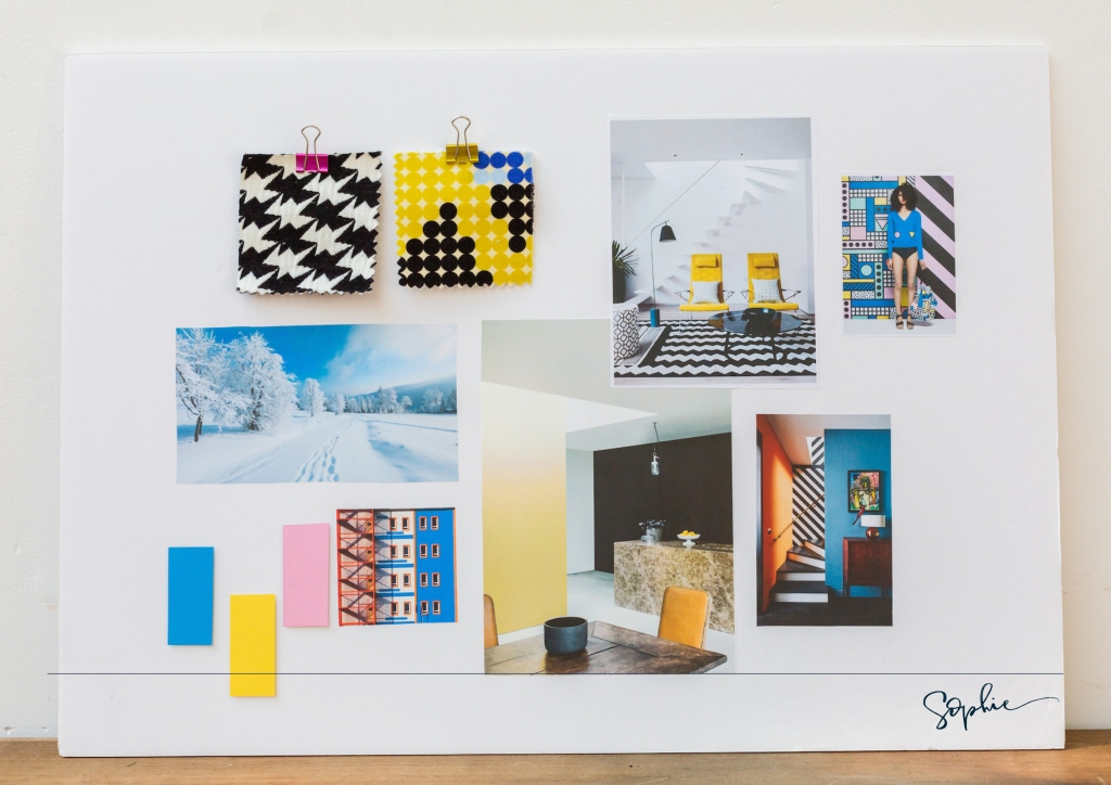 A mood board showing the colour schemes for a winter personality using the theory of colour psychology