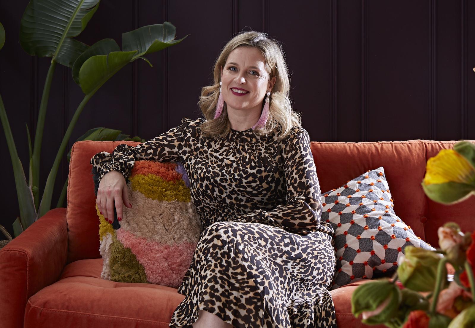 interior designer sophie robinson in leopard print dress