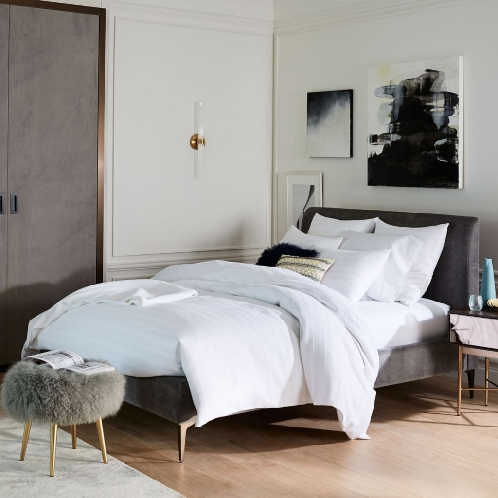 Modern monochrome bedroom by West Elm