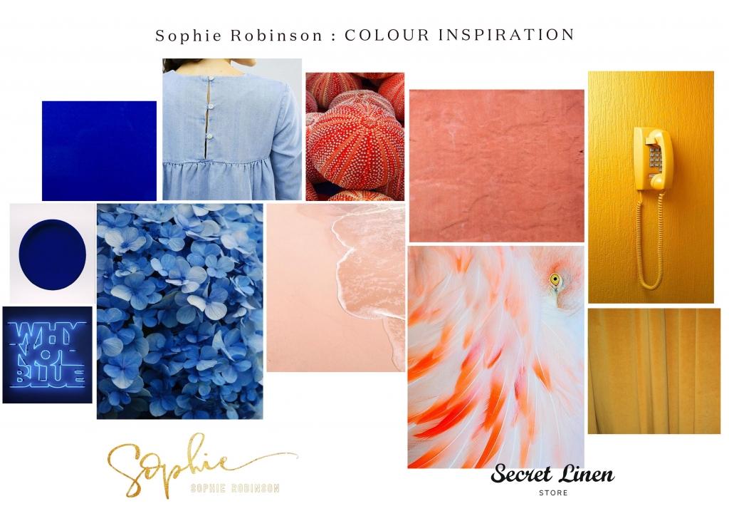 colour inspiration mood board for bedlinen rage at secret linen store by sophie robinson