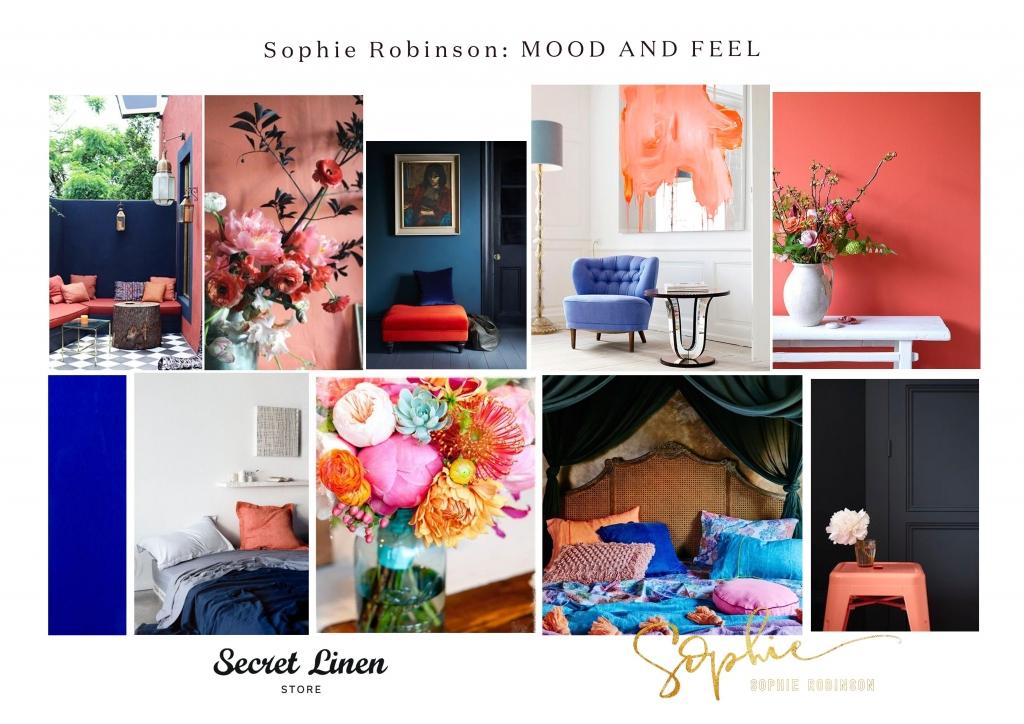 moodboard in coral, yellow and cobalt blue for secret linen bed linen range designed by interior designer sophie robinson