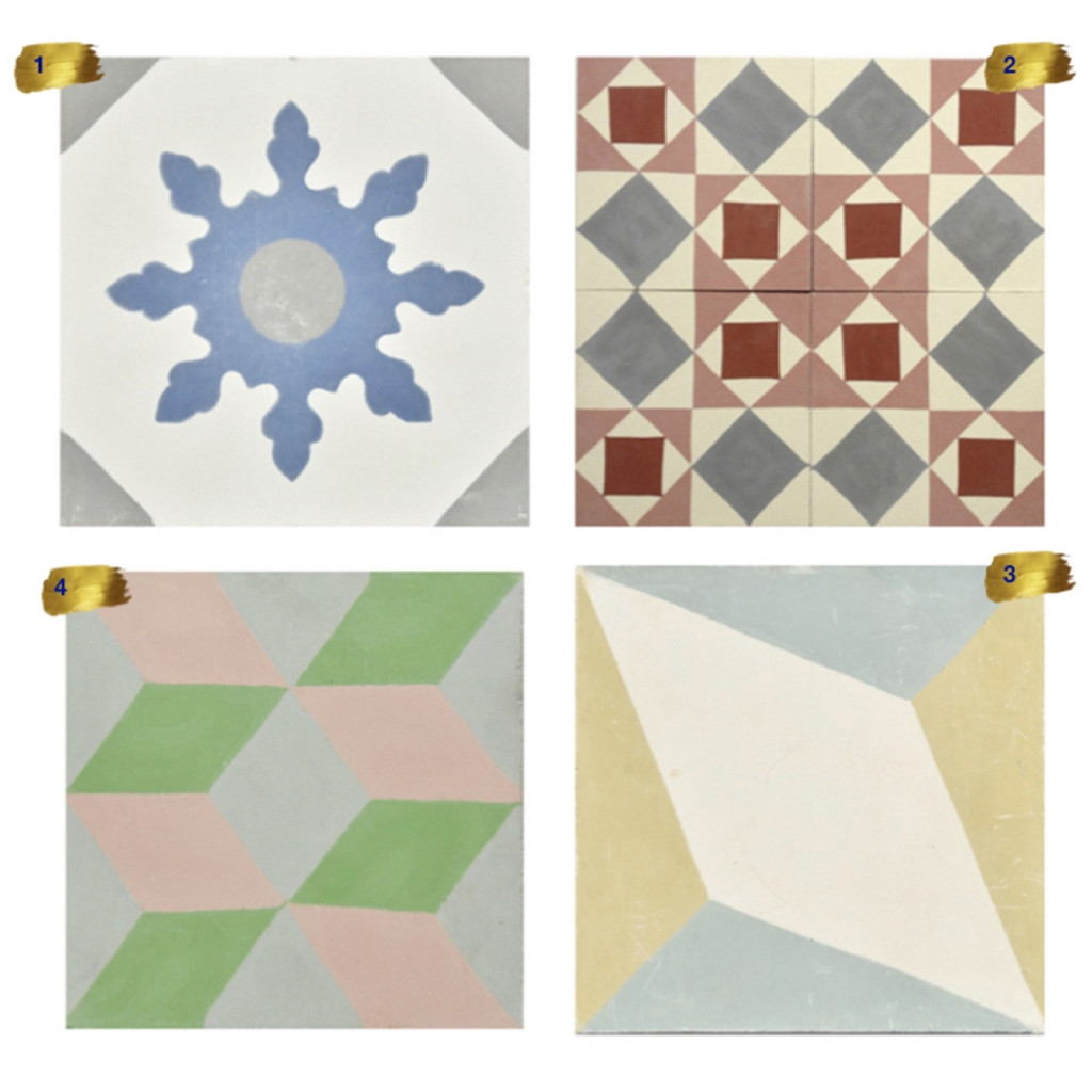 Interior Designer Sophie Robinson chooses favourite encaustic cement tiles Alhambra selection of geometric colourful designs