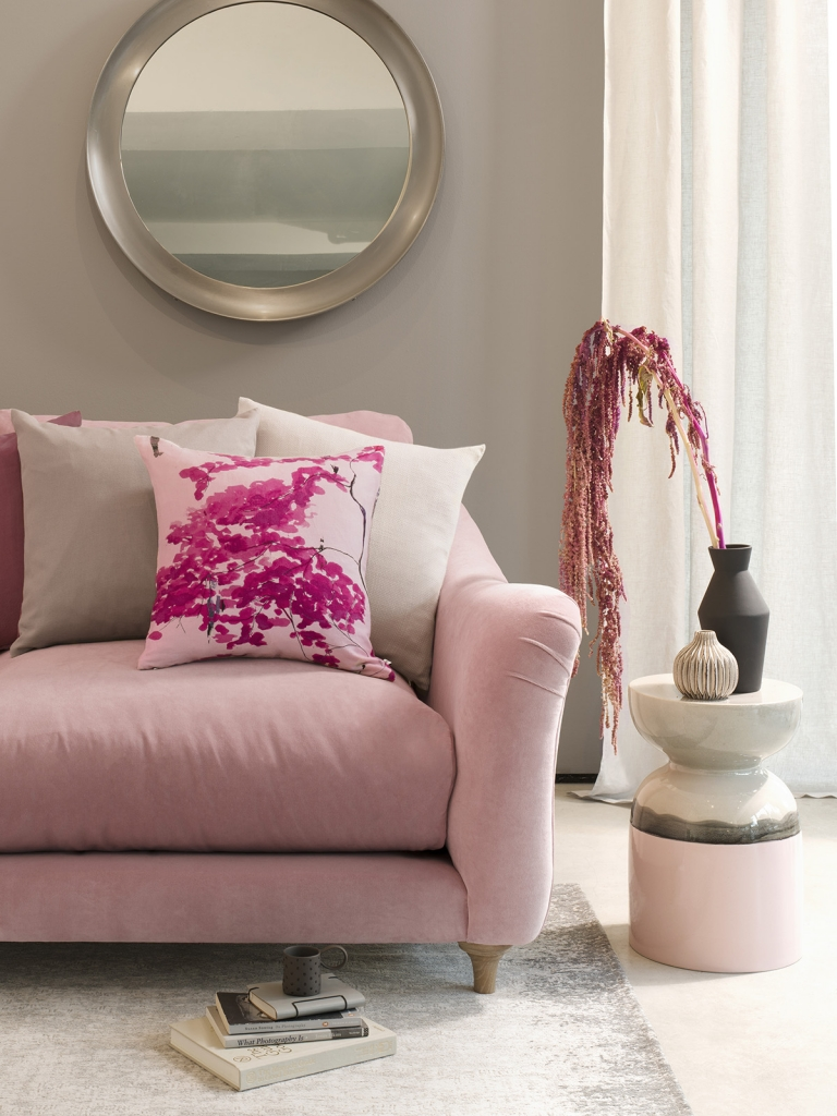 Interior designer Sophie Robinson interviews designer Anna Jacobs - blush pink sofa Chinese tree cushion