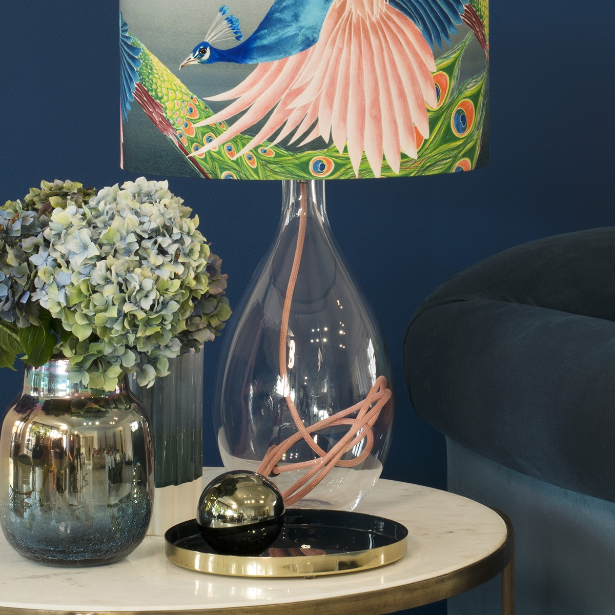 Interior designer Sophie Robinson interviews designer Anna Jacobs Flying peacock large lamp