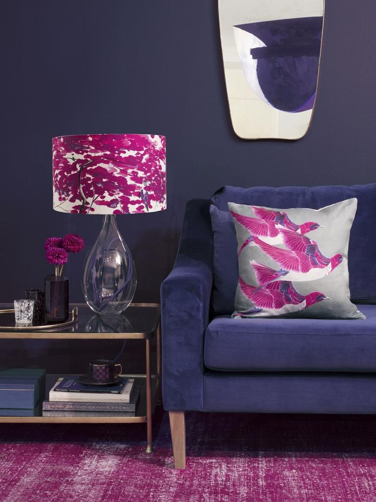 Interior designer Sophie Robinson interviews designer Anna Jacobs violet Starling lamp Indigo velvet sofa pink rug
