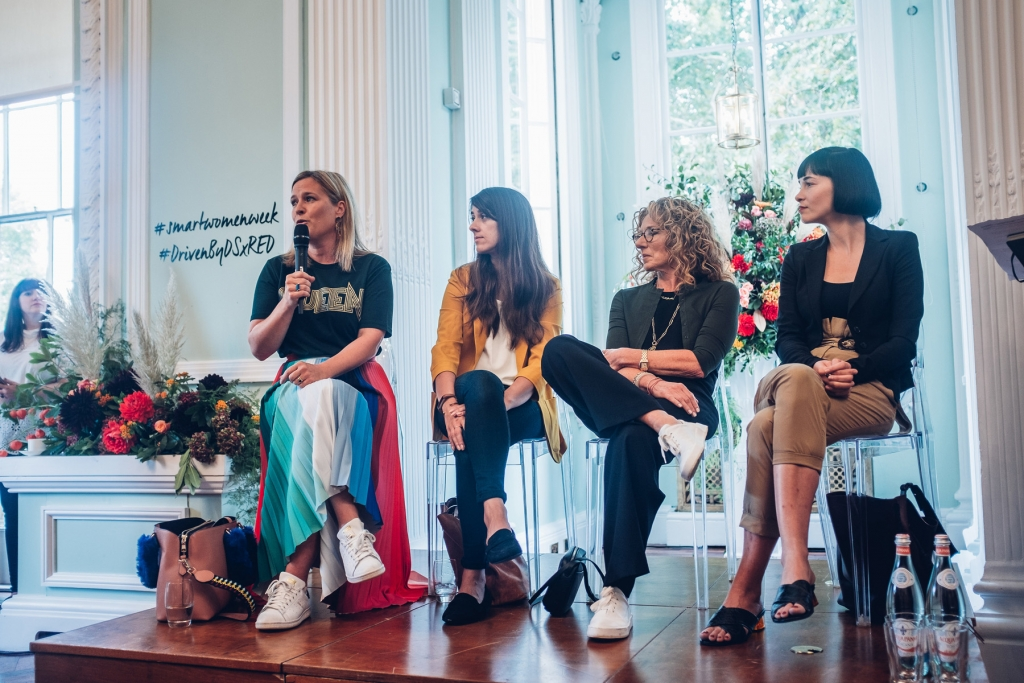 Sophie robinson with Jemma ahmed from etsy, kelly hoppen MBE, and Linda Boronkay from Soho house groupat Reds Smart women week