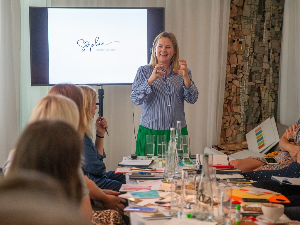 Interior designer Sophie Robinson hosts Sanderson Style Library colour event moodboarding