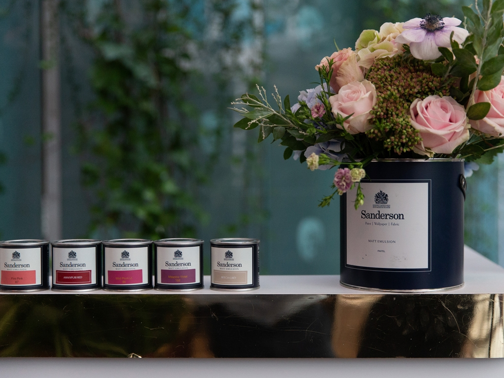 Interior designer Sophie Robinson hosts Sanderson Style Library colour event new paint collection flowers