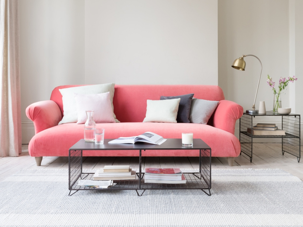 Interior Designer Sophie Robinson selects favourite velvet sofas Loaf Souffle pink industrial tables