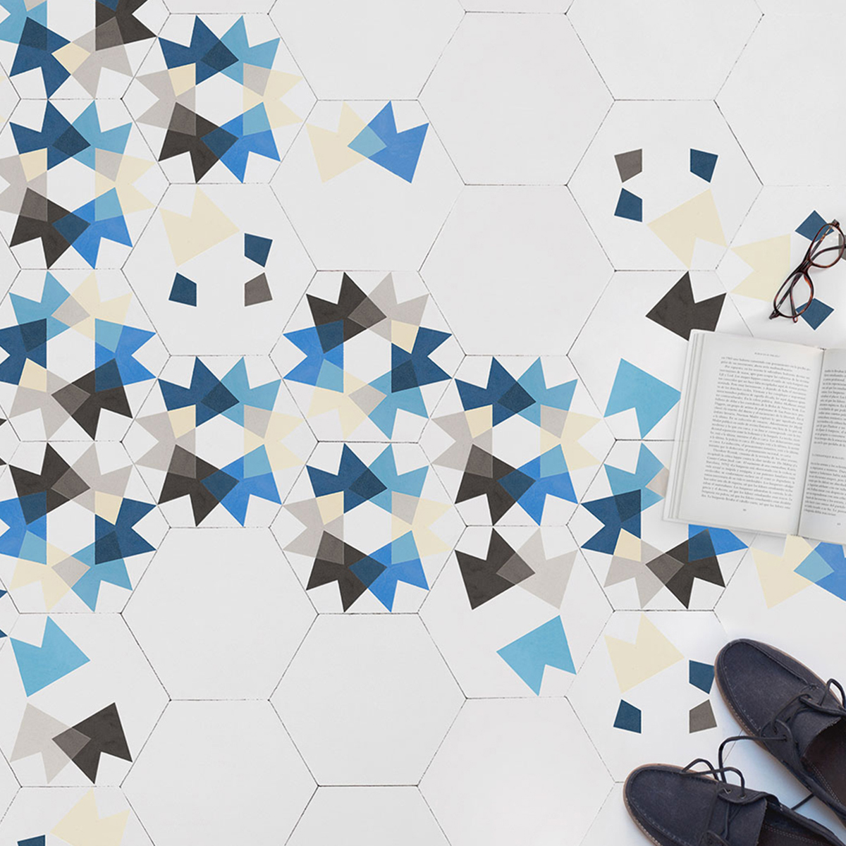 Interior Designer Sophie Robinson chooses favourite encaustic cement tiles Maitland&Poate hexagonal blue floor