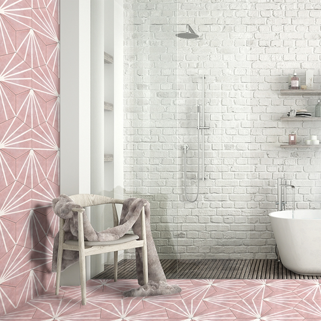 Interior Designer Sophie Robinson chooses favourite encaustic cement tiles Otto bathroom pale pink geometric