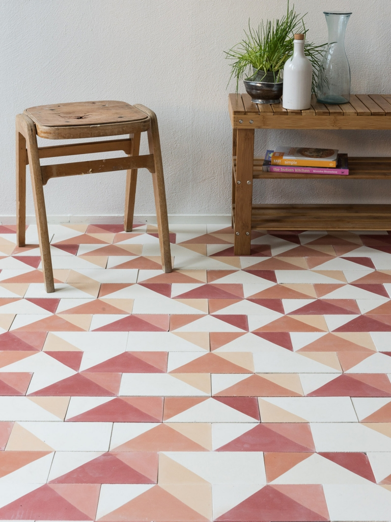 Interior Designer Sophie Robinson chooses favourite encaustic cement tiles Smink Things geometric orange