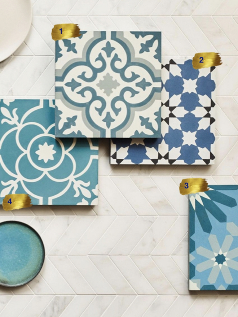 Interior Designer Sophie Robinson chooses favourite encaustic cement tiles Claybrook blue floor tiles flatlay