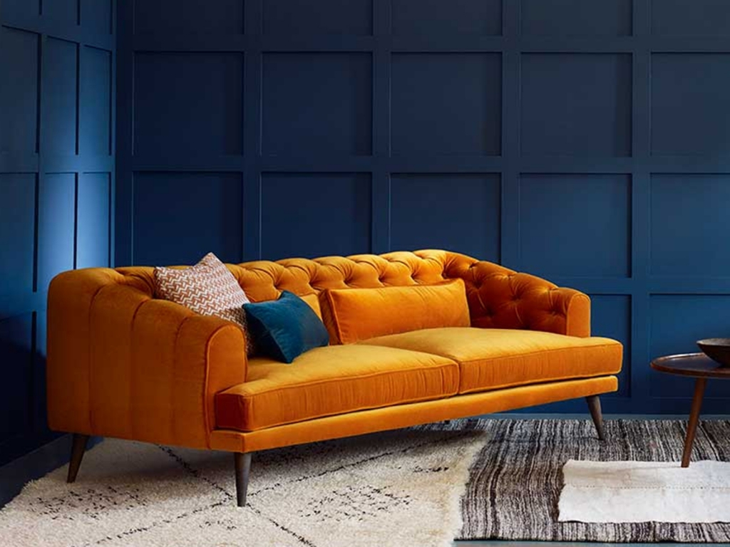Interior Designer Sophie Robinson selects favourite velvet sofas Love Your Home Tangerine velvet Earl Grey chesterfield