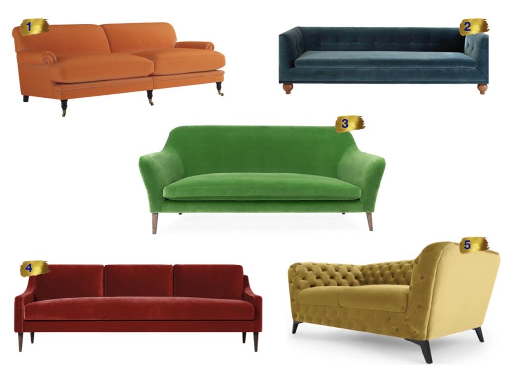 Interior Designer Sophie Robinson selects favourite velvet sofas