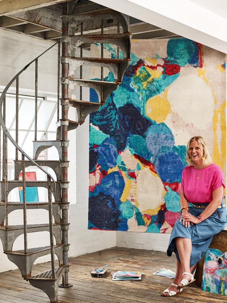 Interior designer Sophie Robinson attends Habitat opening in Brighton, local artist design exclusive rug, Sophie Abbot