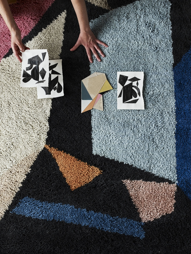 Artist Lauri Hopkins collabortaes with Habitat to design this rug called Nightswim, available from Habitat