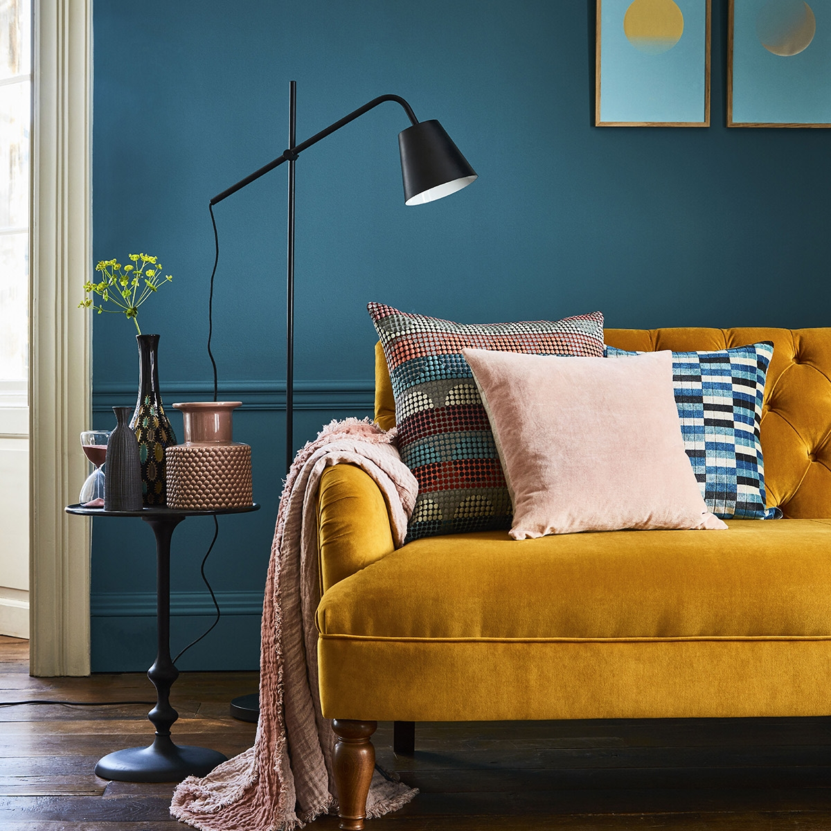 Interior designer Sophie Robinson talks about mustard trend, velvet sofa in Turmeric by Willow & Hall and teal painted wall