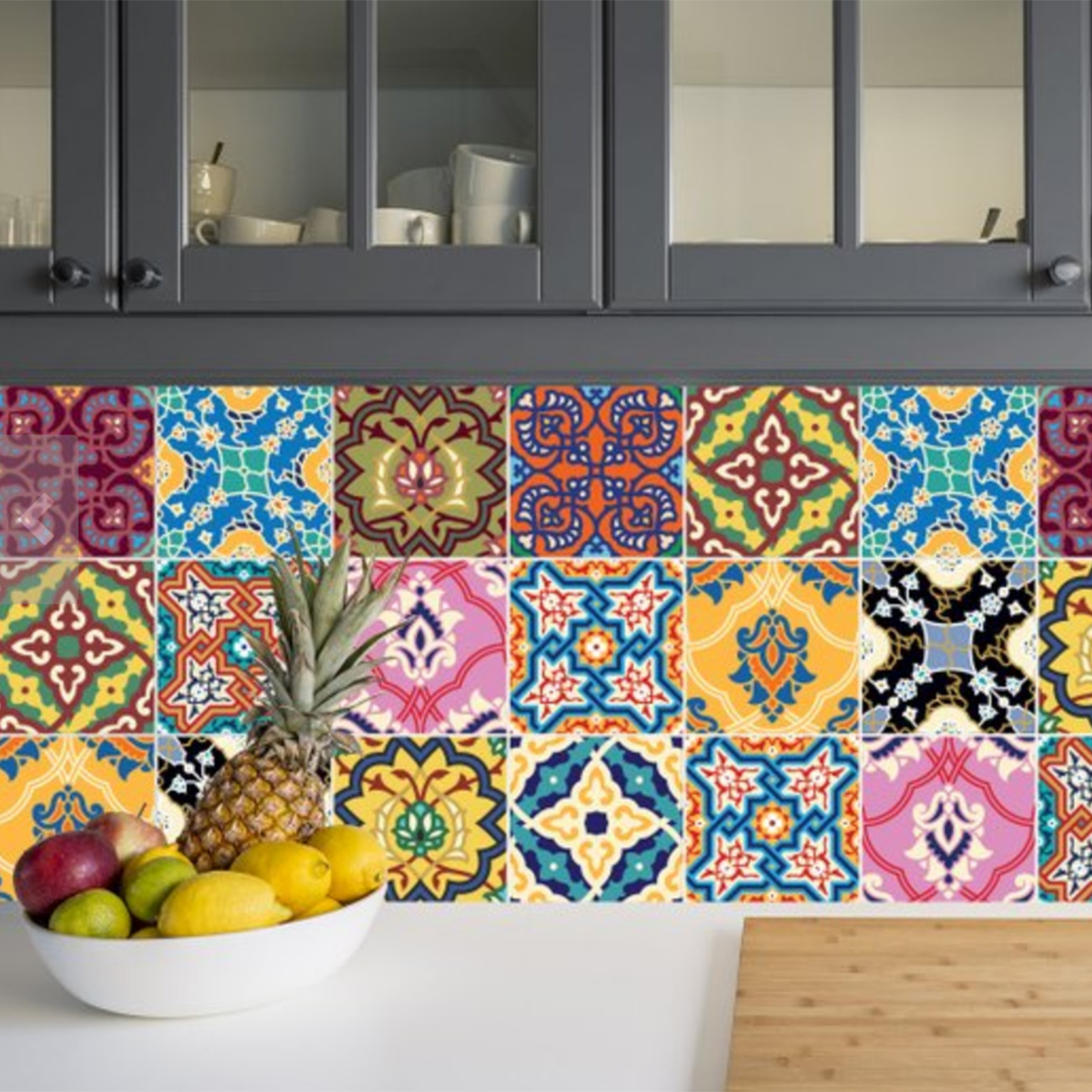 Interior Designers Sophie Robinson talks kitchen update patchwork tile stickers